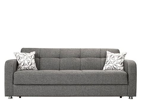 klik klak sofa bed with storage soft gray upholstery and sleek chrome look the harvey