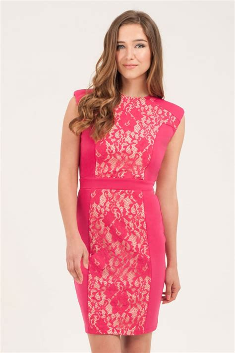 magenta floral lace bodycon dress