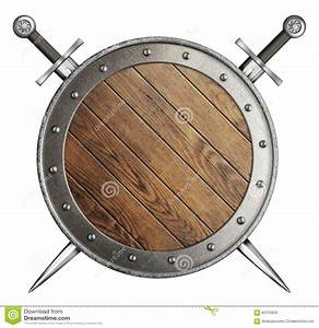 Wooden Round Shield And Two Crossed Swords Stock Photo ...