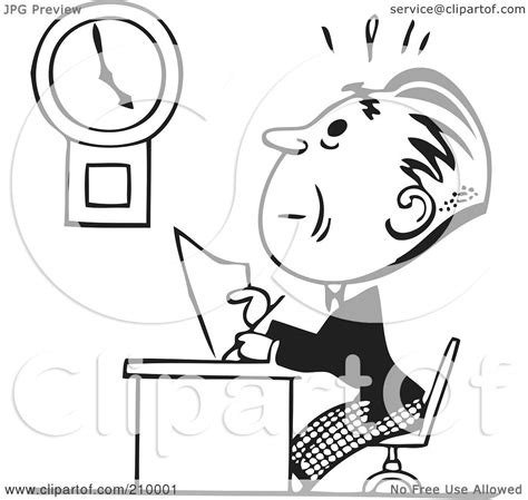 11466 work clipart black and white royalty free rf clipart illustration of a retro black