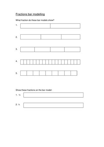 fractions on a bar model worksheet year 1 by
