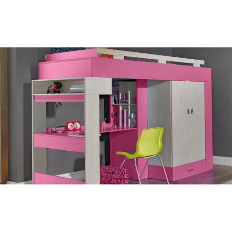 lit a etage avec bureau lit sureleve avec bureau et armoire vera achat vente