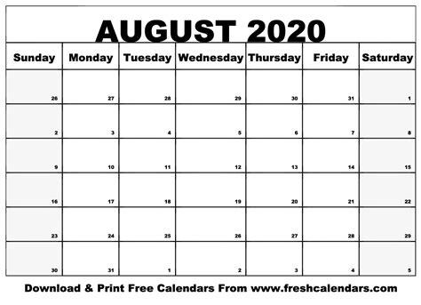printable august  calendars