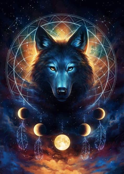 dream catcher wolf animals poster print metal posters