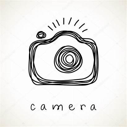 Camera Drawn Hand Icon Vector Doodle Sketch