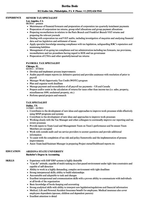 Accounting Resume Sles Canada by Tax Specialist Resume Sles Velvet
