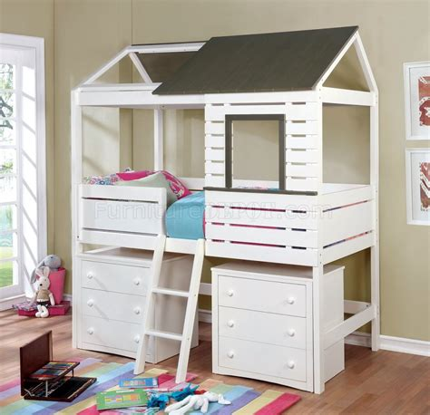 farem cm twin size youth house bed  white grey