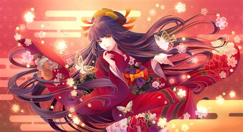 Wallpaper Anime Girl Kimono Long Hair Butterflies