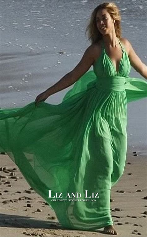 beyonce green chiffon halter  neck celebrity prom dress malibu beach