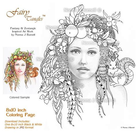 october autumn fairy tangles adult printable coloring sheets
