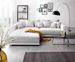 Big Sofa L Form : big sofa violetta 310x135 cm hellgrau creme mit hocker m bel sofas big sofas ~ Frokenaadalensverden.com Haus und Dekorationen