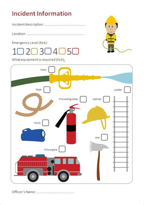 fire station role play incident form eyfs ks