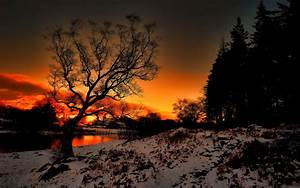 Sunset river snow landscape wallpaper | 1920x1200 | 76704 ...