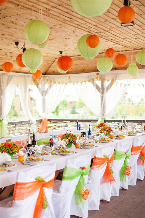 wedding decor green orange lantern table green