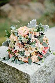 Peach Flowers Wedding Bouquet