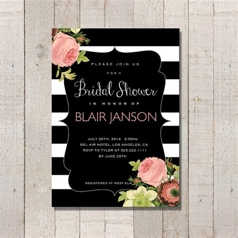 bridal shower invitation vintage inspired black and white