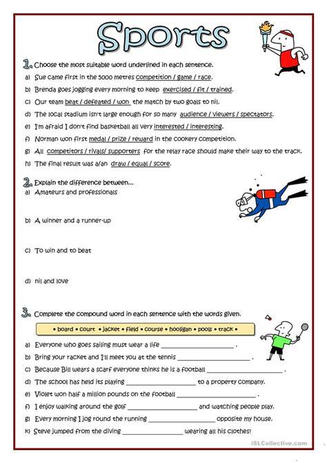 kindergarten sports worksheets reading comprehension