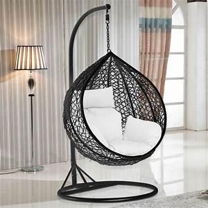 Rattan Hanging Swing Chair with cushion Wicker Beach ...