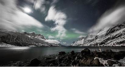 Norway Fjord Mountain Lights Northern Wallpapers Night