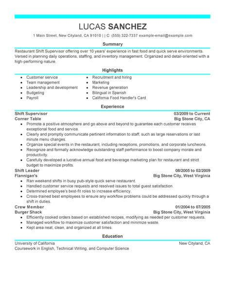 Resume For Restaurant Supervisor by Best Shift Supervisor Resume Exle From Professional