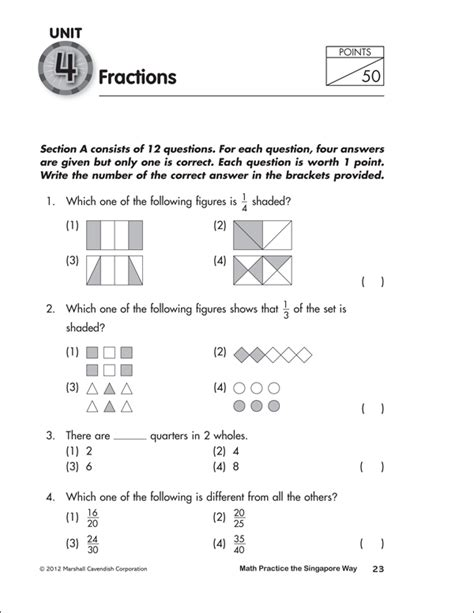 math practice  singapore  grade  workbook marshall