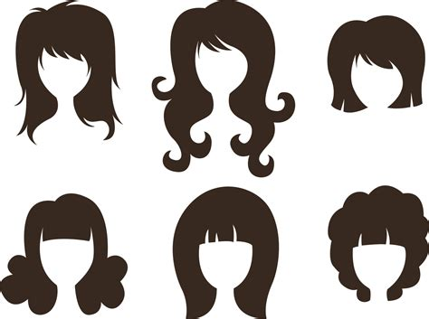 comb hairstyle silhouette cute simple beauty hair cartoon vector png