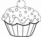 Coloring Cake Pages Cartoon Pop Cupcake Cup Birthday Popular Box Template Print Coloringhome sketch template