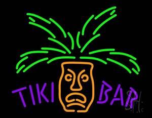 Tiki Bar with Palm Tree Neon Sign