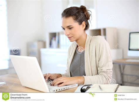 Woman Working On Laptop Stock Photo Image Of People