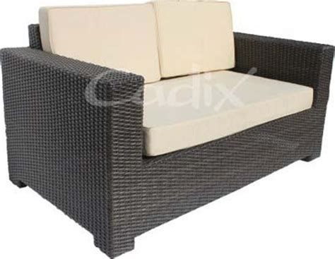 quattro brown wicker 2 seater garden sofa with cushions 163