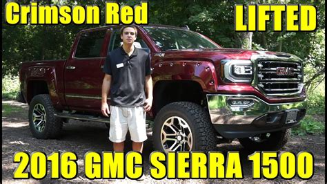lifted custom  gmc sierra  great  crimson