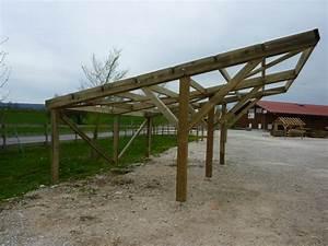 Comment Fixer Un Poteau Bois Au Sol : carport monopente poteaux en y 6mx6m menuiserie bertin ~ Dailycaller-alerts.com Idées de Décoration