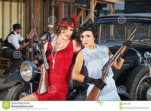 Attractive Female Gangsters With Guns Royalty Free Stock ...