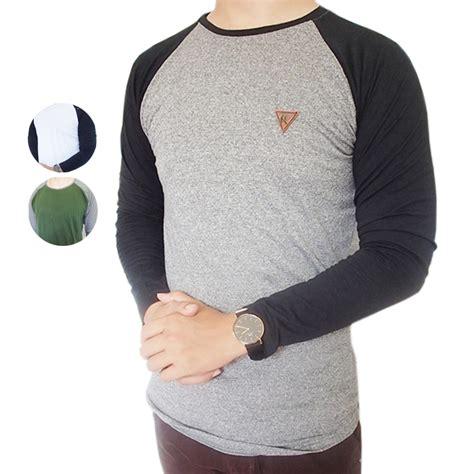 baju kaos lengan panjang pria polos design premium twotone ariel tribal top button raglan