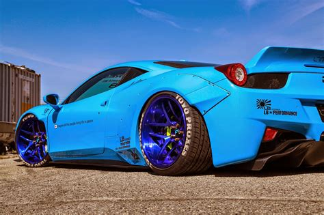 ferrari  italia  liberty walk blue color rear view