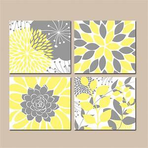 Yellow gray wall art canvas or prints floral bedroom for What kind of paint to use on kitchen cabinets for flower on canvas wall art