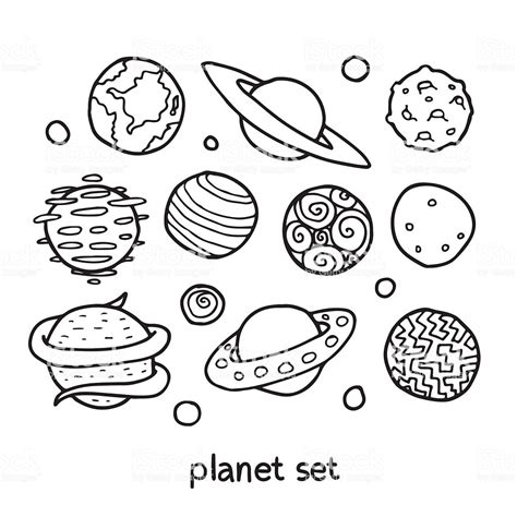 Cartoon Outline Set Of Fictional Planets Stock Vector Art