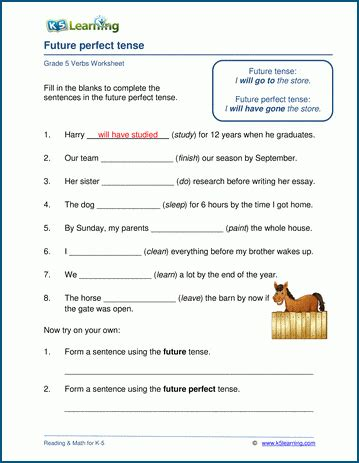 perfect tenses introduction  worksheets  learning