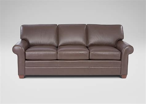 bennett three cushion roll arm leather sofas ethan allen us
