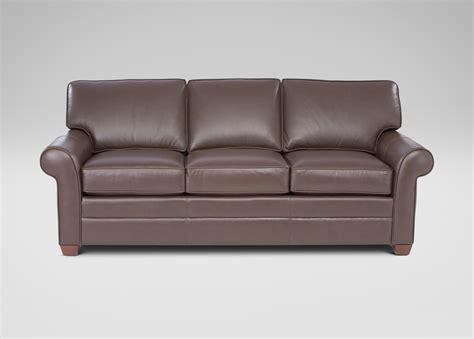 Bennett Three Cushion Roll Arm Leather Sofas Ethan Allen Us