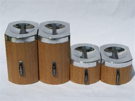 wooden kitchen canister sets retro mod 60s wood grain vintage kromex metal kitchen