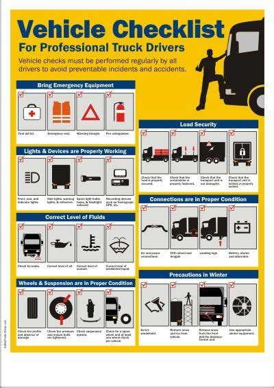vehicle checklist  truck drivers safety posters