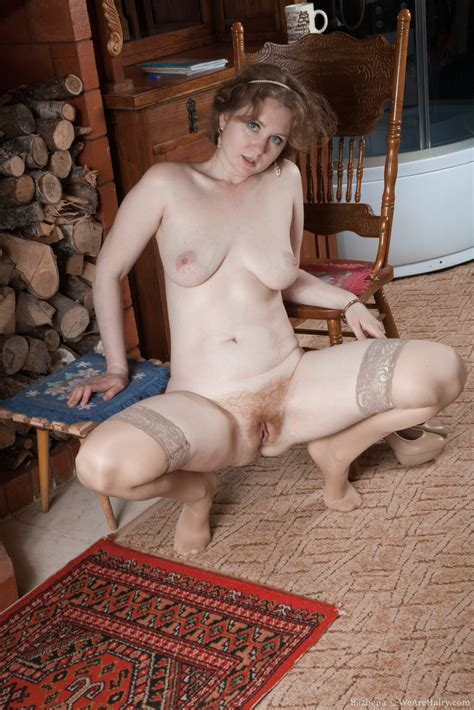 Bazhena Strips Naked By Her Fireplace Today