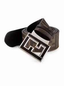 Fendi Zucca Reversible Leather Belt in Black for Men | Lyst