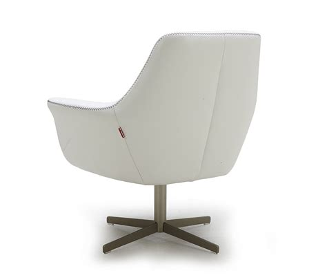 poli white modern leather swivel lounge chair