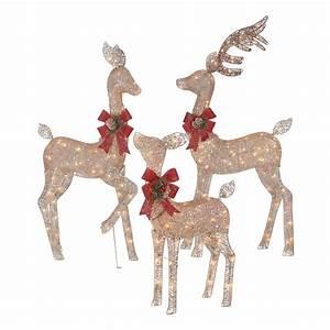 Holiday, Time, Light-up, Outdoor, 3-piece, Glitter, Reindeer, Decoration, Set, -, Walmart, Com