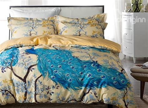 Peacock Colored Bedding by Designer 60s Brocade Blue Peacock And Branches Luxury 4