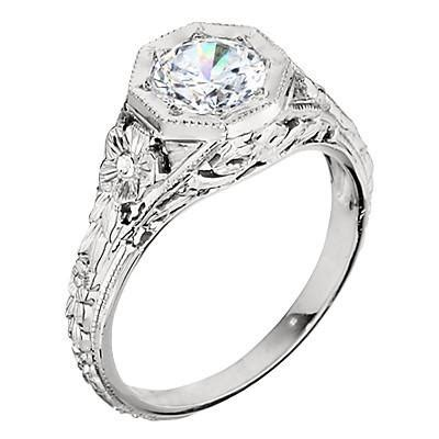 vintage style solitaire engagement ring mounting floral