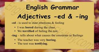 adjectives ending with ed ing grammar