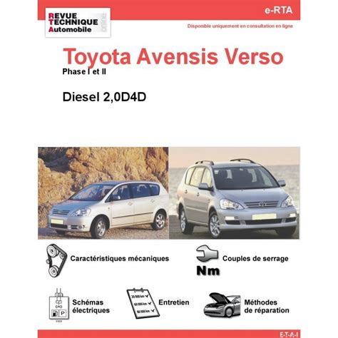 toyota site officiel revue technique toyota avensis verso diesel rta site